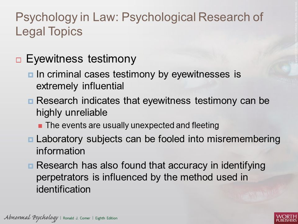 Psychology in Law: Psychological Research of Legal Topics
