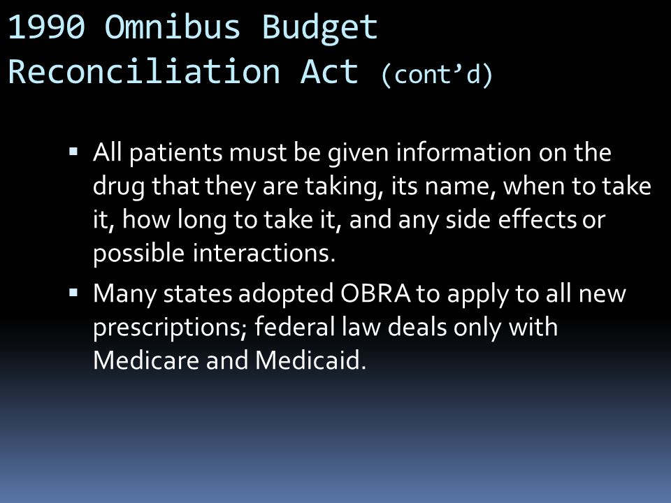 1990 Omnibus Budget Reconciliation Act (cont'd)