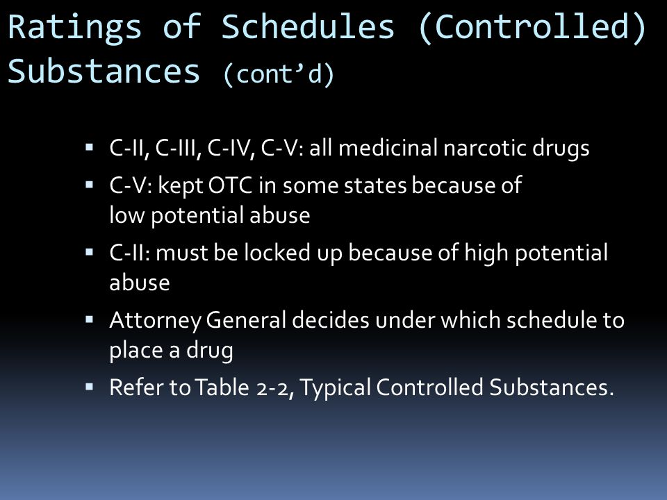 Ratings of Schedules (Controlled) Substances (cont'd)