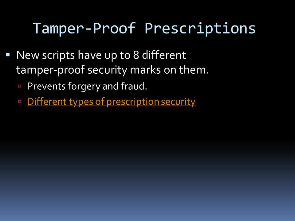 Tamper-Proof Prescriptions