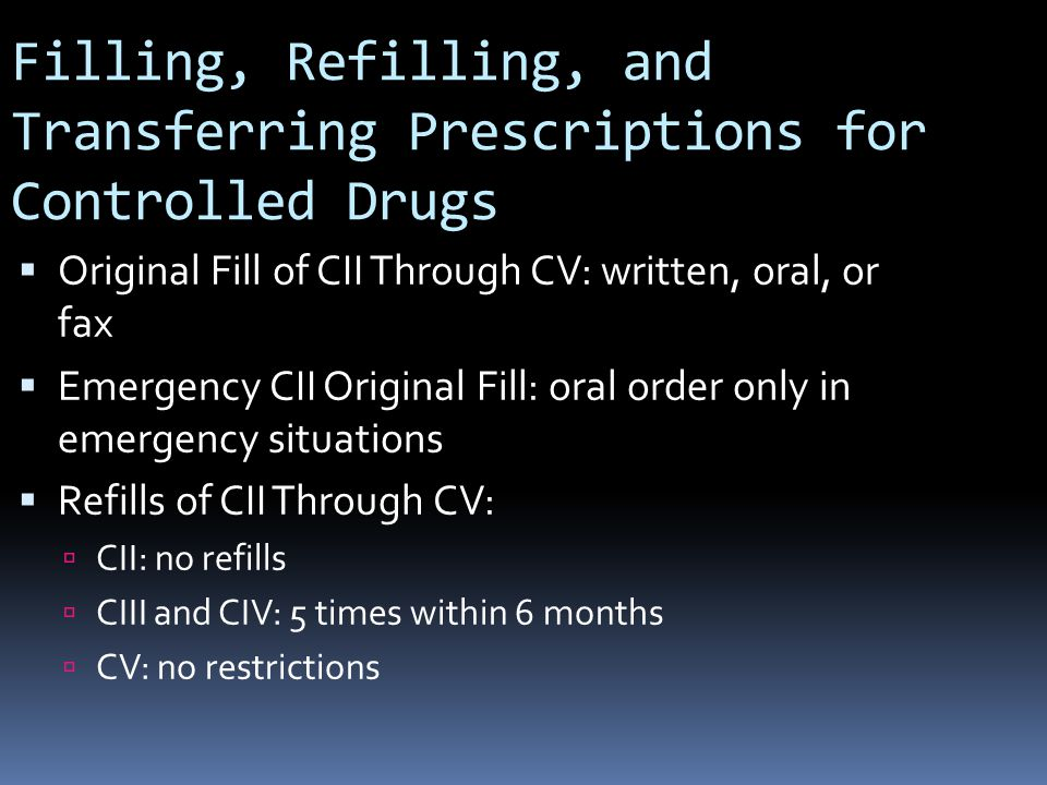 Filling, Refilling, and Transferring Prescriptions for Controlled Drugs