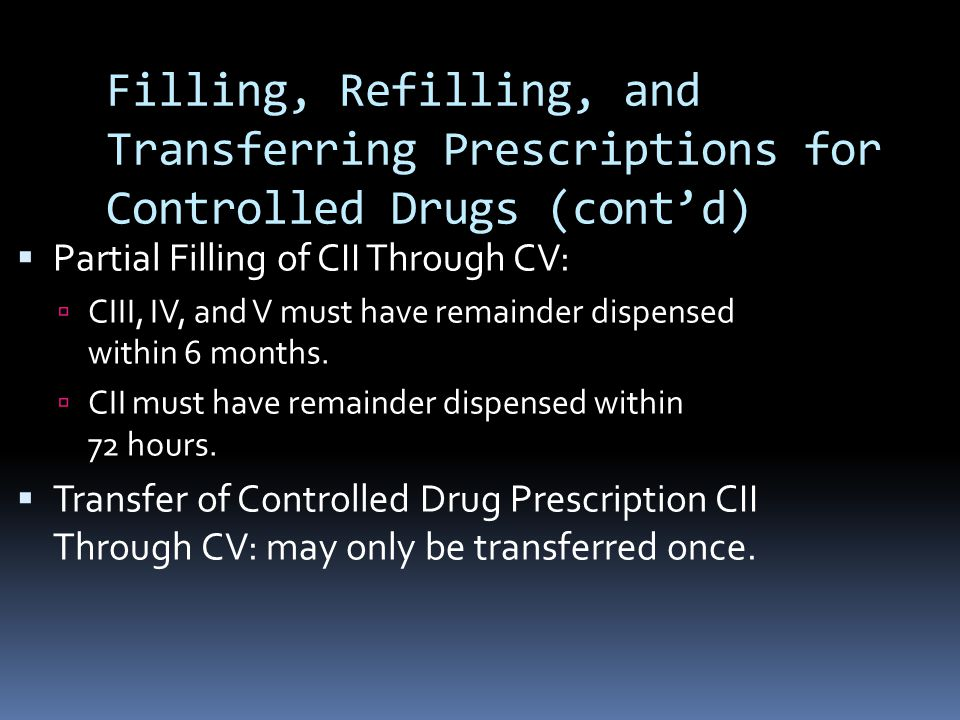 Filling, Refilling, and Transferring Prescriptions for Controlled Drugs (cont'd)