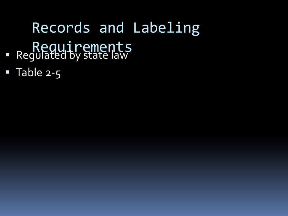 Records and Labeling Requirements