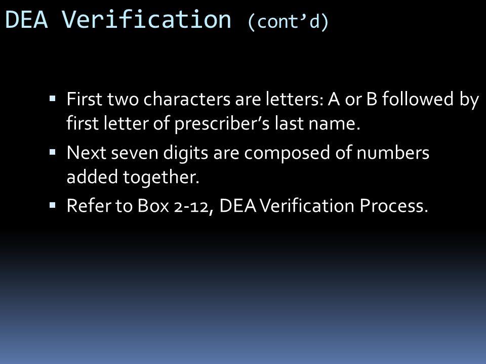 DEA Verification (cont'd)