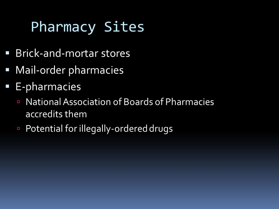 Pharmacy Sites Brick-and-mortar stores Mail-order pharmacies