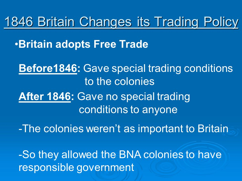 1846 Britain Changes its Trading Policy