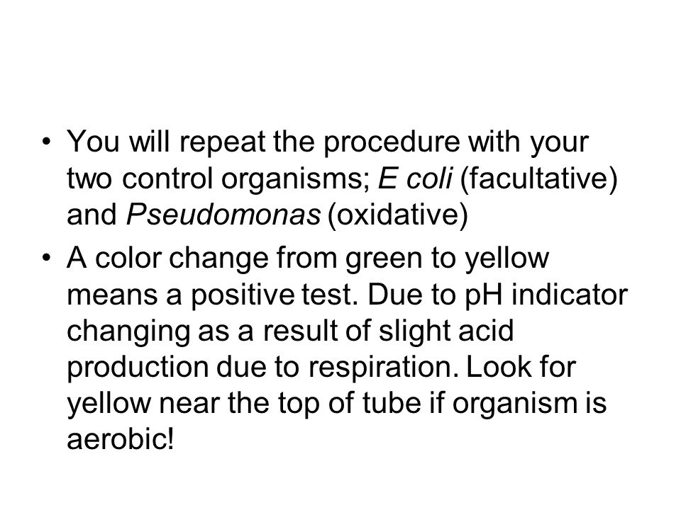 You will repeat the procedure with your two control organisms; E coli (facultative) and Pseudomonas (oxidative)