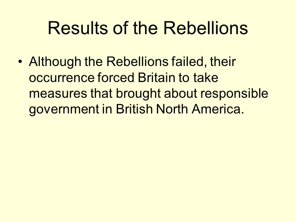 Results of the Rebellions