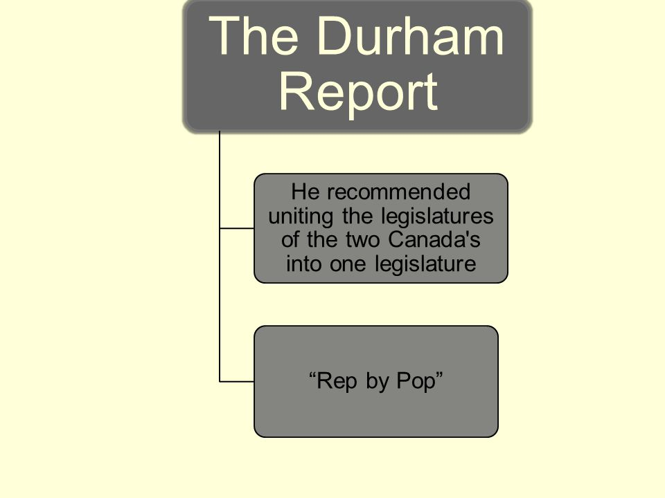 The Durham Report He recommended uniting the legislatures of the two Canada s into one legislature.