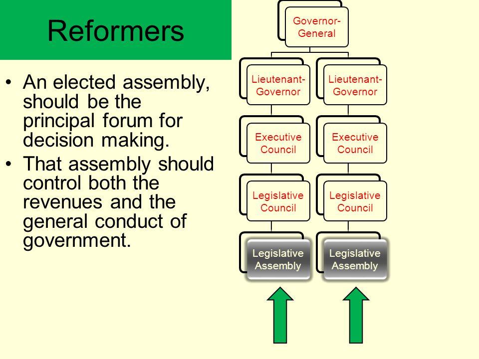 Reformers Governor-General. Lieutenant-Governor. Executive Council. Legislative Council. Legislative Assembly.