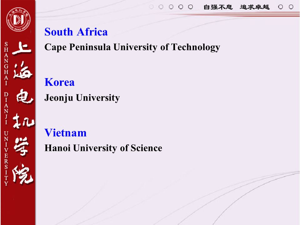 South Africa Korea Vietnam Cape Peninsula University of Technology