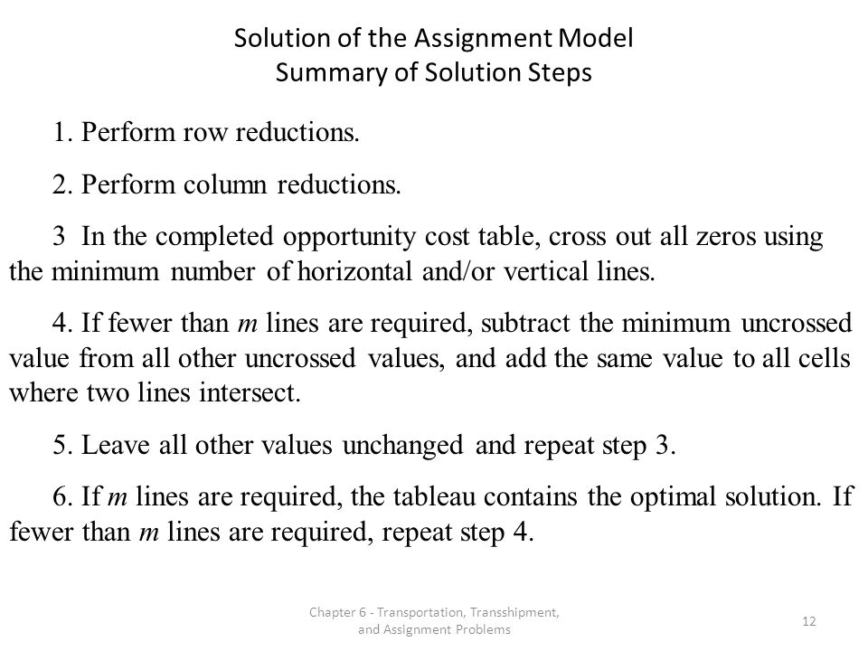 Solution of the Assignment Model Summary of Solution Steps