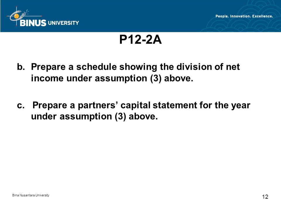 P12-2A Prepare a schedule showing the division of net income under assumption (3) above.