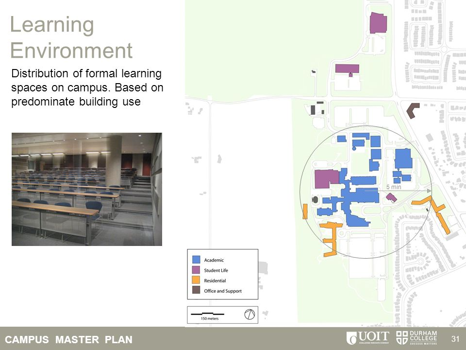 Learning Environment Distribution of formal learning spaces on campus. Based on predominate building use.