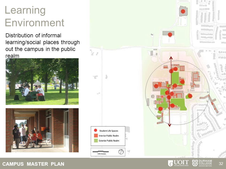 Learning Environment Distribution of informal learning/social places through out the campus in the public realm.