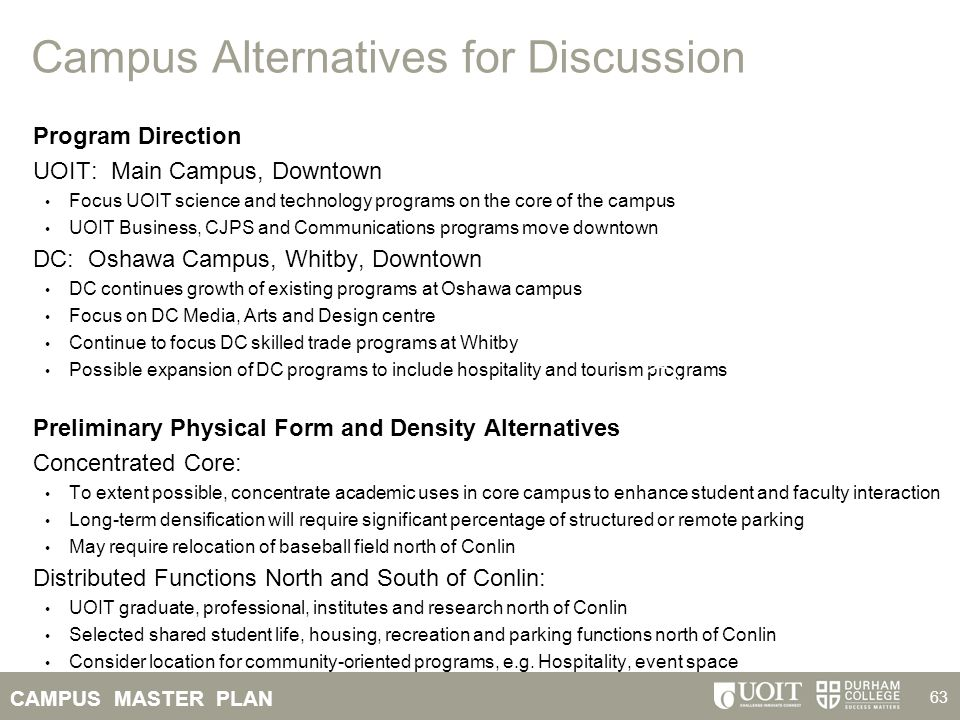 Campus Alternatives for Discussion