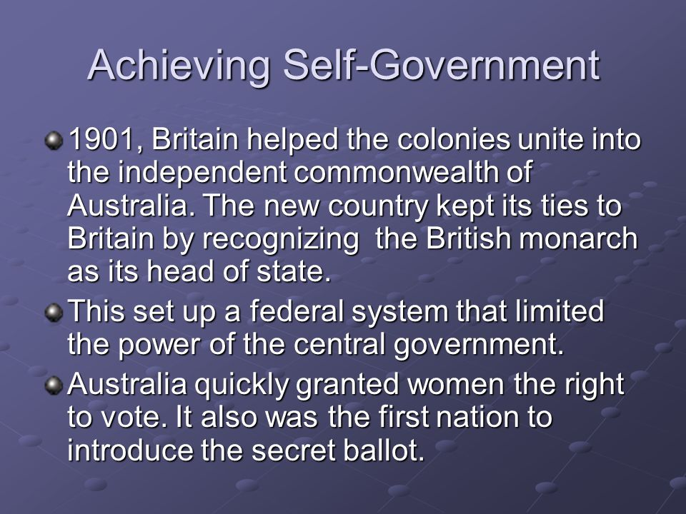 Achieving Self-Government