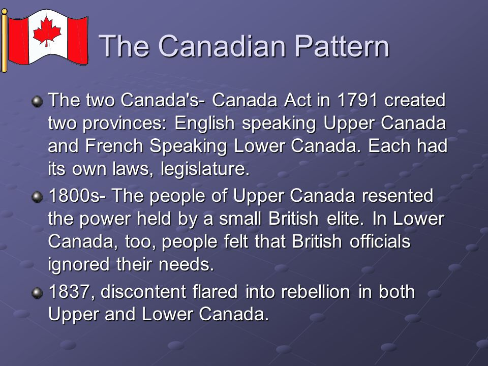 The Canadian Pattern
