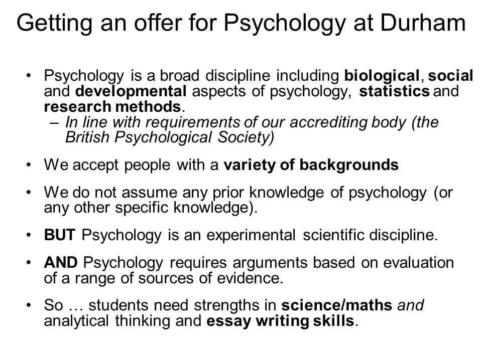 Getting an offer for Psychology at Durham