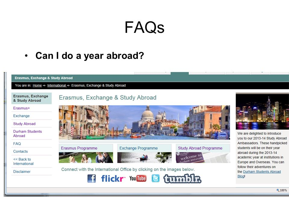 FAQs Can I do a year abroad