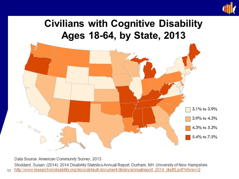 Civilians with Cognitive Disability Ages 18-64, by State, 2013