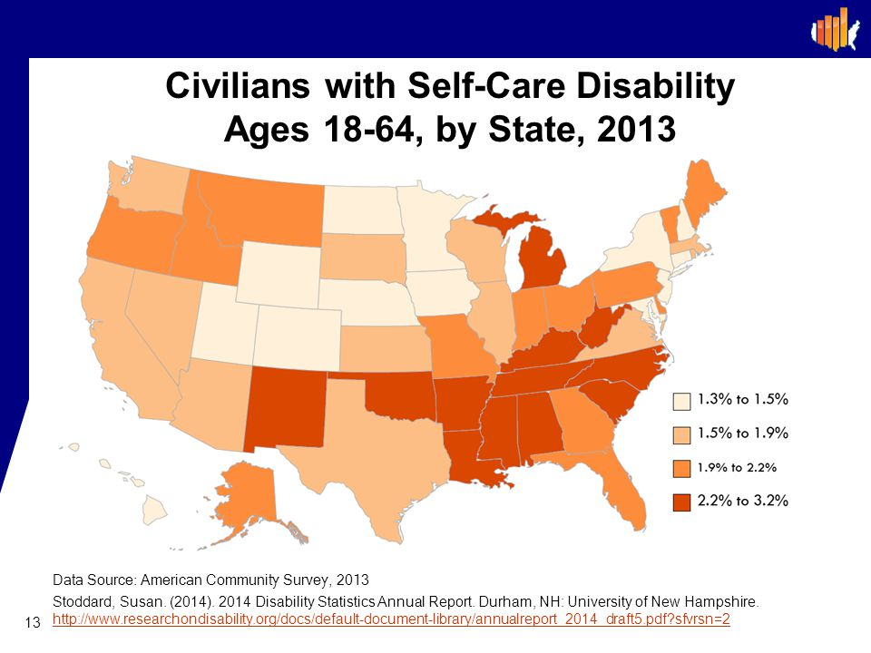 Civilians with Self-Care Disability Ages 18-64, by State, 2013