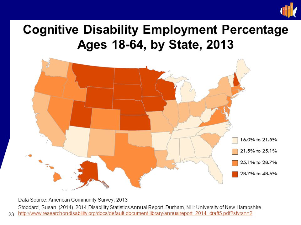 Cognitive Disability Employment Percentage Ages 18-64, by State, 2013