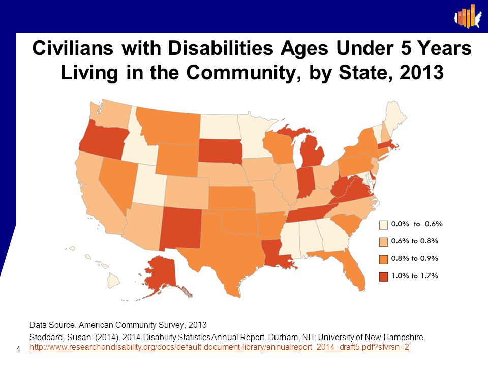 Civilians with Disabilities Ages Under 5 Years Living in the Community, by State, 2013