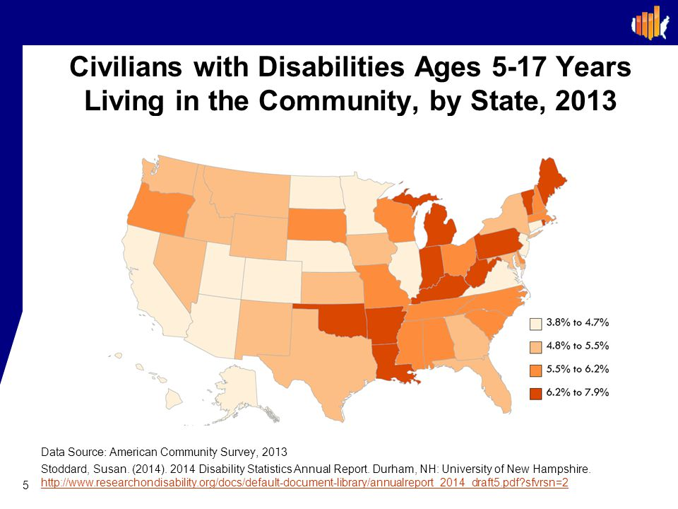 Civilians with Disabilities Ages 5-17 Years Living in the Community, by State, 2013
