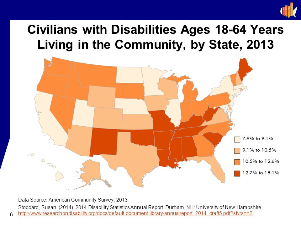 Civilians with Disabilities Ages 18-64 Years Living in the Community, by State, 2013