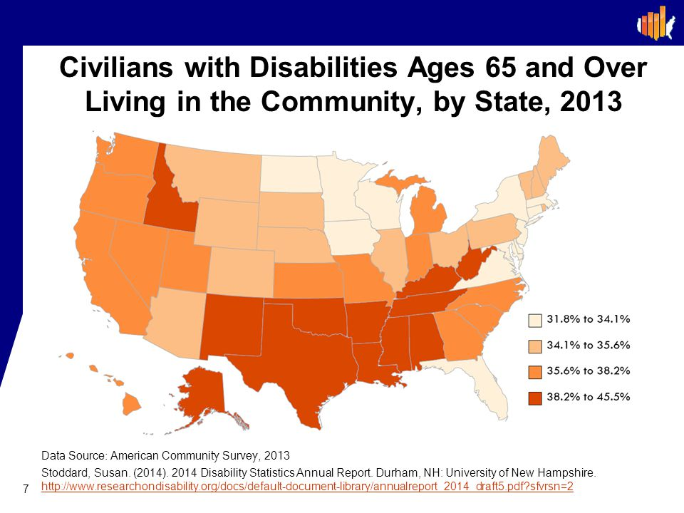 Civilians with Disabilities Ages 65 and Over Living in the Community, by State, 2013