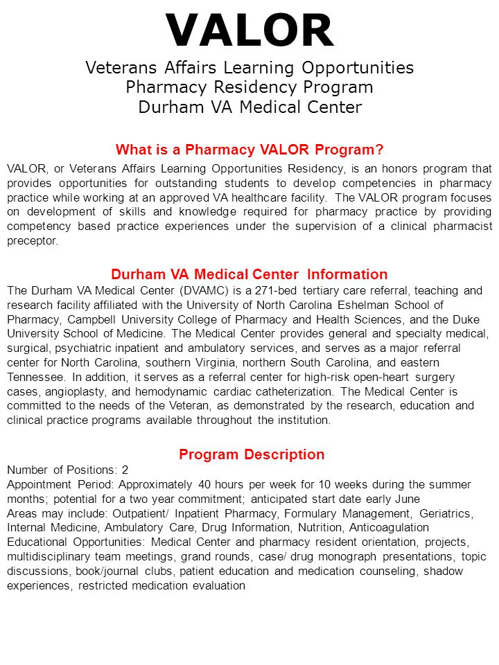 What is a Pharmacy VALOR Program Durham VA Medical Center Information