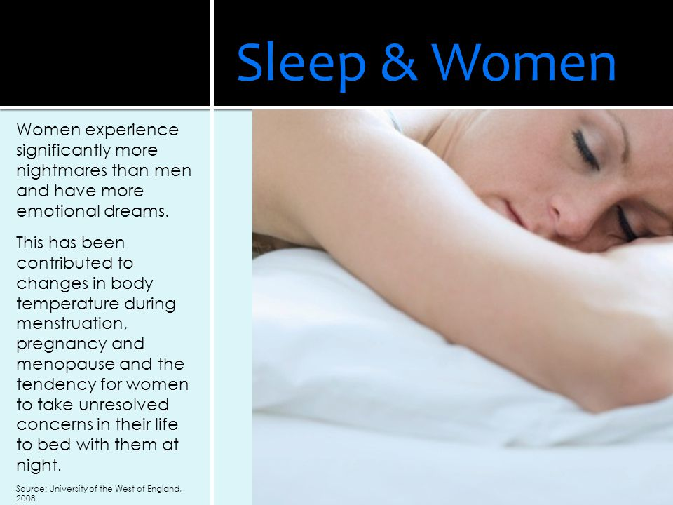 Sleep & Women Women experience significantly more nightmares than men and have more emotional dreams.