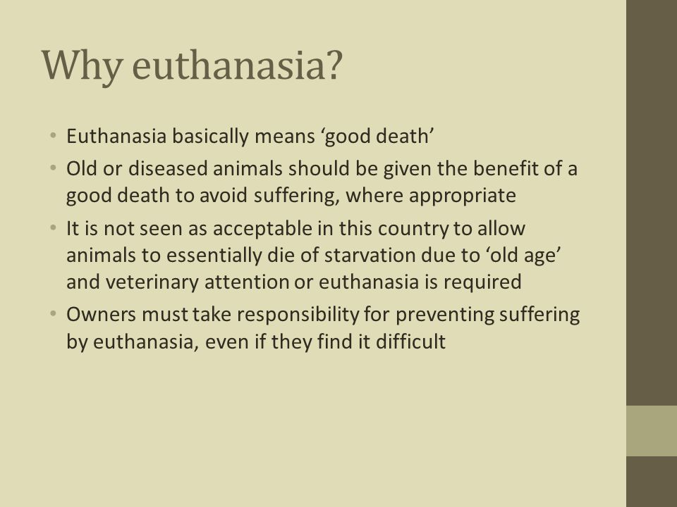 Why euthanasia Euthanasia basically means 'good death'