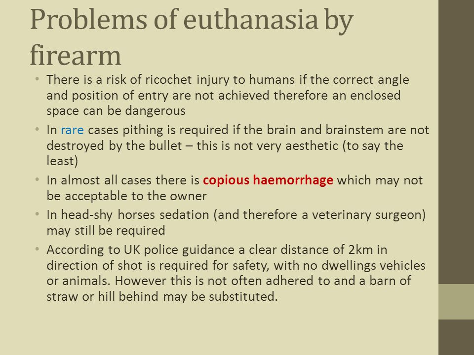 Problems of euthanasia by firearm