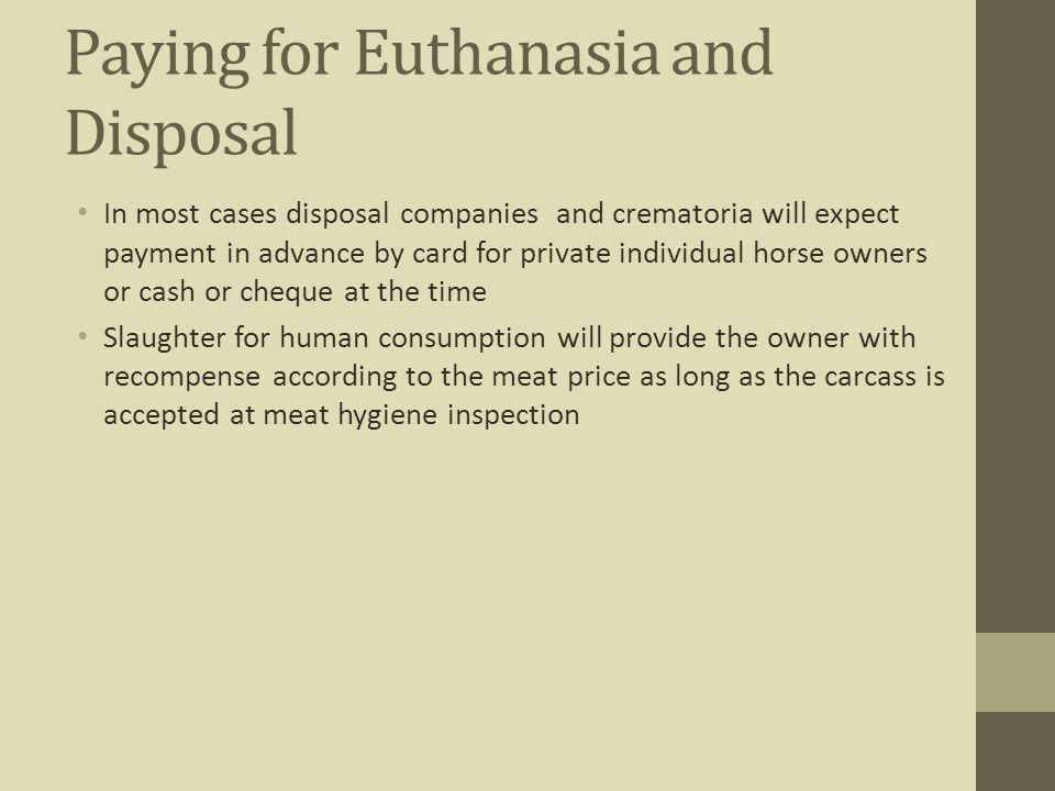Paying for Euthanasia and Disposal