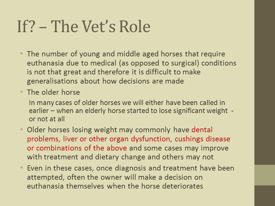 If – The Vet's Role
