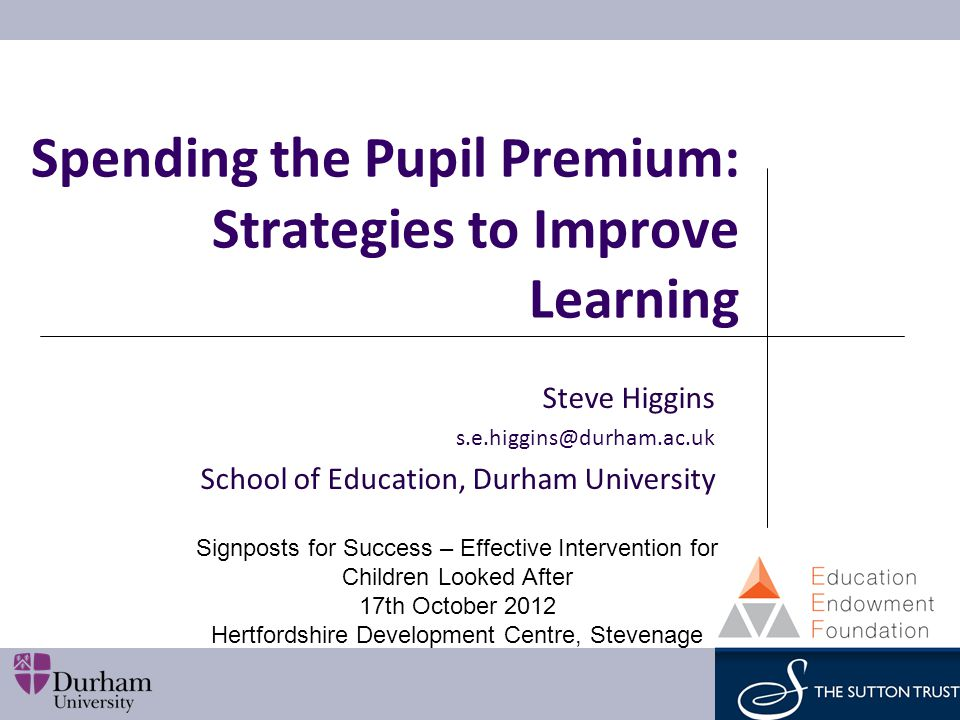 Spending the Pupil Premium: Strategies to Improve Learning