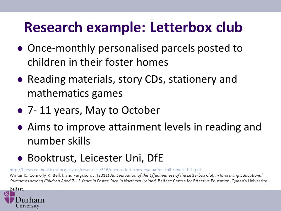 Research example: Letterbox club