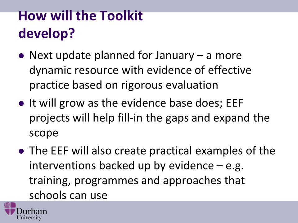 How will the Toolkit develop