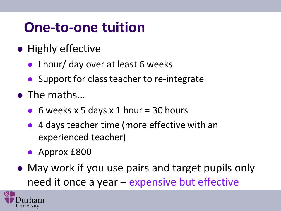 One-to-one tuition Highly effective The maths…