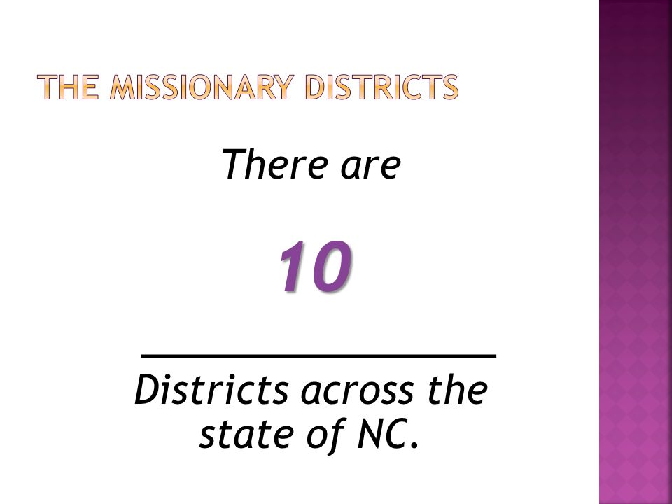 The Missionary Districts