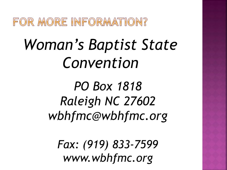 Woman's Baptist State Convention
