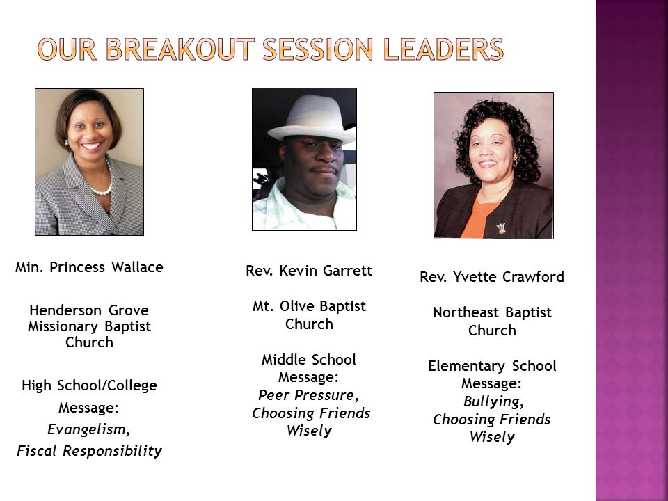 Our Breakout Session leaders
