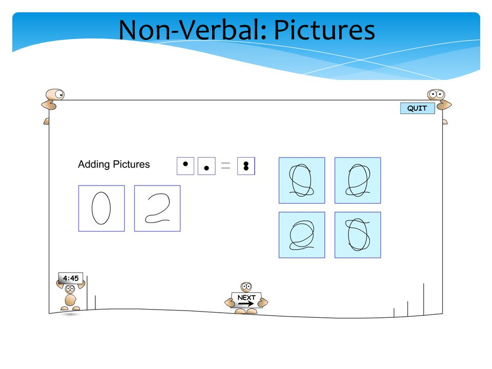 Non-Verbal: Pictures Pictures – addition, subtraction, sequences of pictures.
