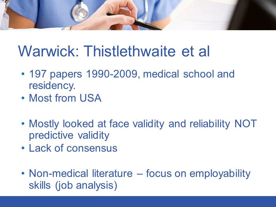 Warwick: Thistlethwaite et al