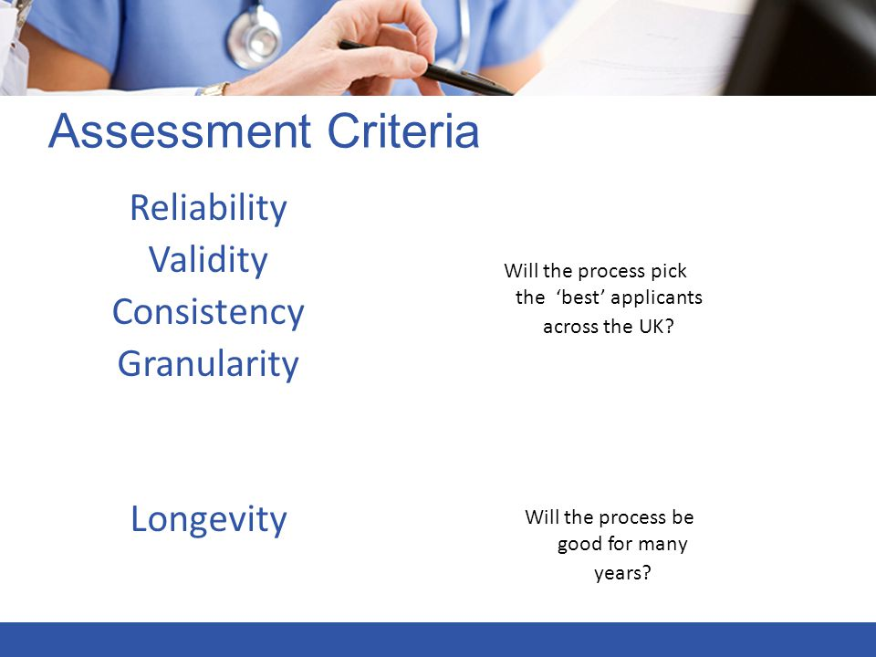Assessment Criteria Reliability Validity Consistency Granularity