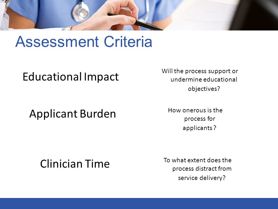 Assessment Criteria Educational Impact Applicant Burden Clinician Time