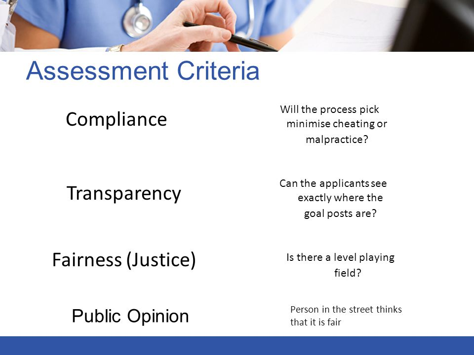 Assessment Criteria Compliance Transparency Fairness (Justice)