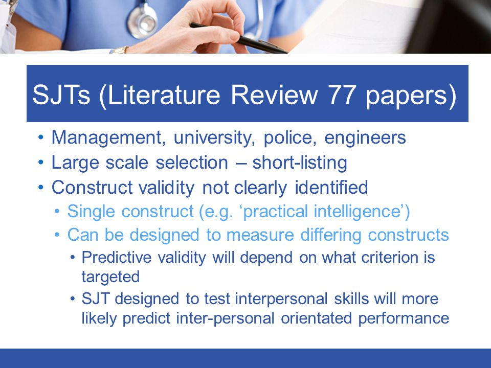 SJTs (Literature Review 77 papers)